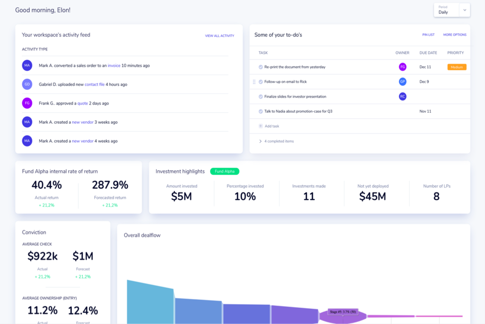 All-in-one dashboard