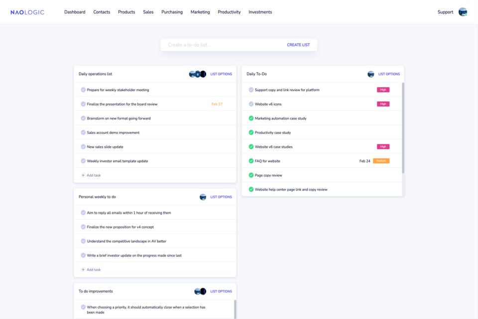 System generated tasks