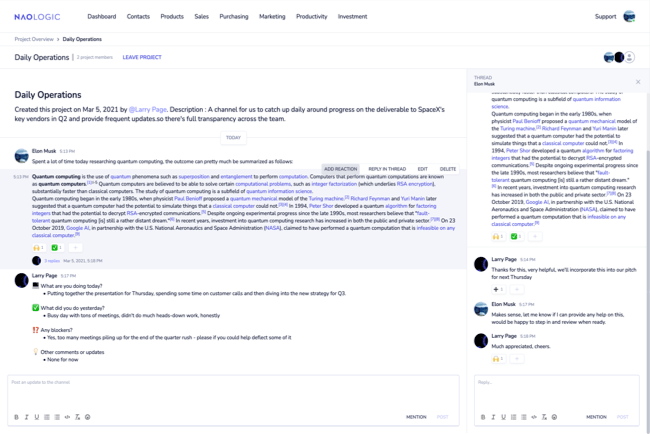 Communicate and chat in dedicated message boards for all your projects